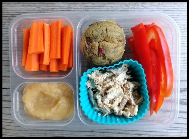 ... chicken salad, a whole-wheat lemon raspberry muffin, red bell pepper