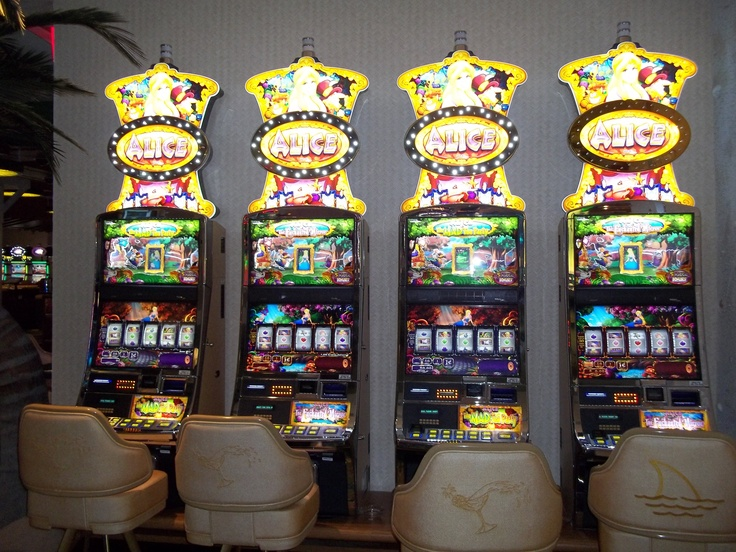 Alice In Wonderland Penny Slot Machine Bank at The Flamingo Casino.  Lots of fun to play.