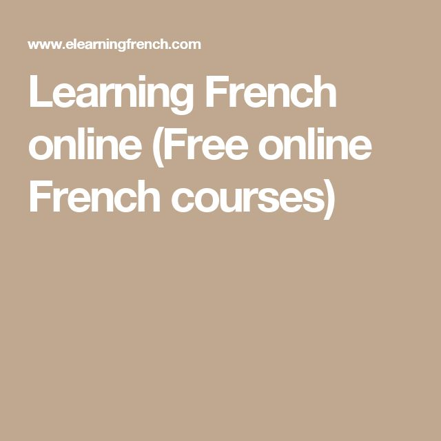 Learning French online (Free online French courses)