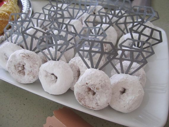 Diamond Donuts - Paper Diamond Cutouts on toothpicks To Create Your Own Bridal Shower Treat!