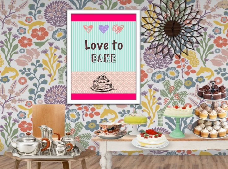 Love to bake. Printable wall art quote,  cake kitchen wall art INSTANT DOWNLOAD by AfterEarth on Etsy
