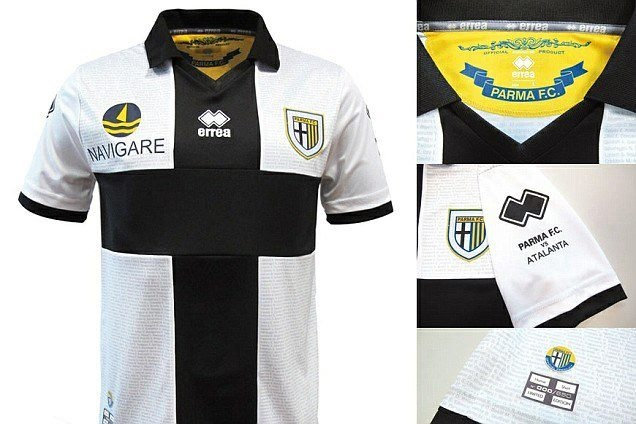 Parma FC's 2012/13 home shirt which apparently features the name of every season ticket holder at the club.