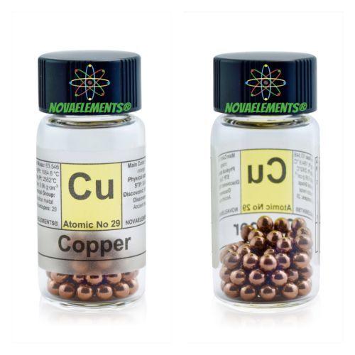 Copper-metal-element-29-sample-10-grams-shiny-pellets-99-99-glass-vial-label