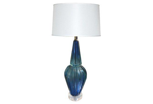 Murano Blue Glass Lamp