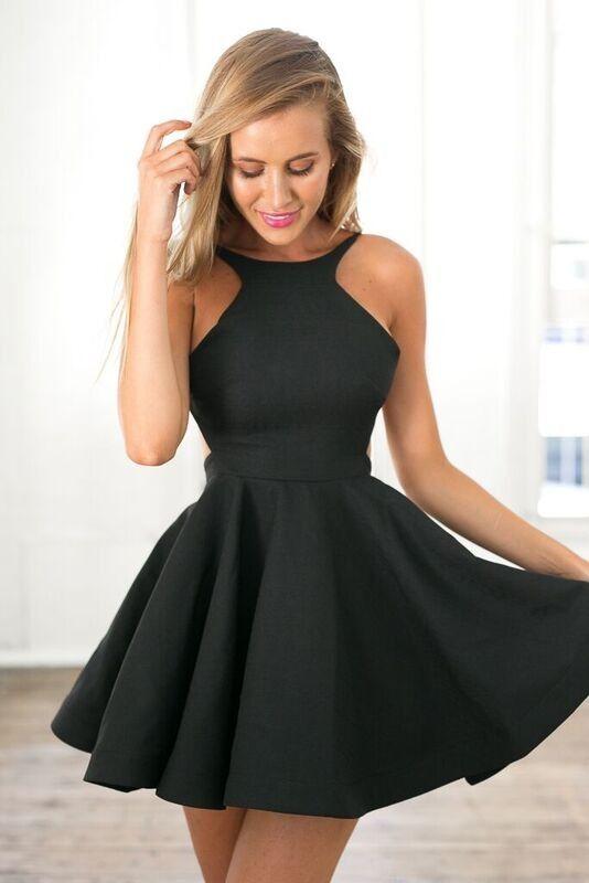 Black Skater Mini w/ Open Back Dress