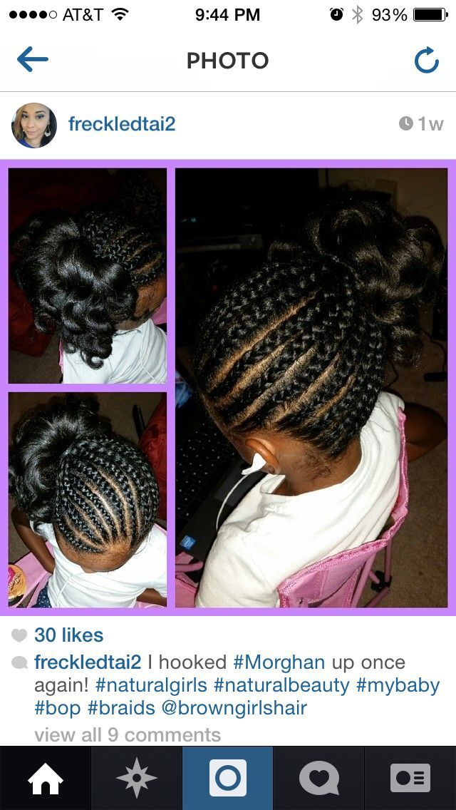 Braids into side ponytail with curls