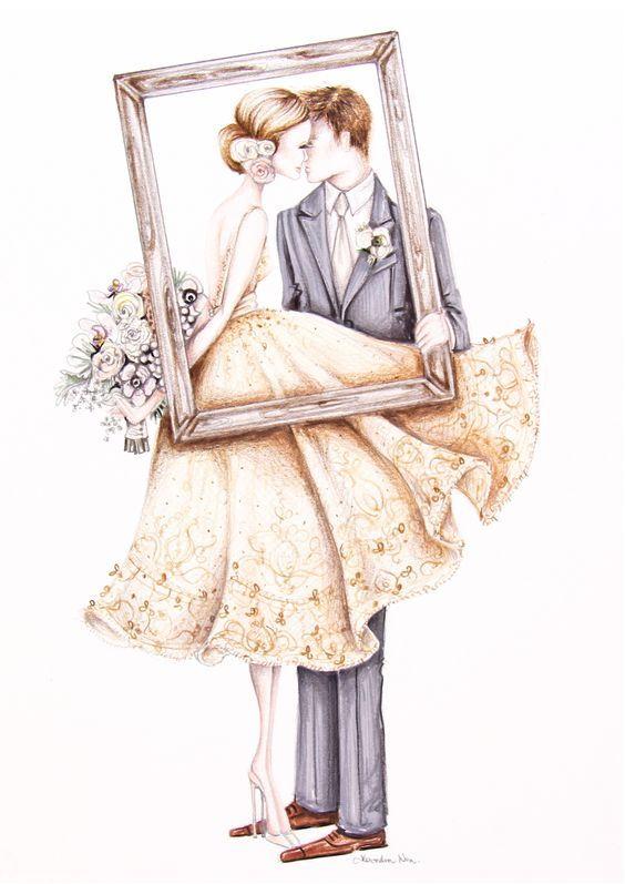 Рисунок открытки на свадьбу