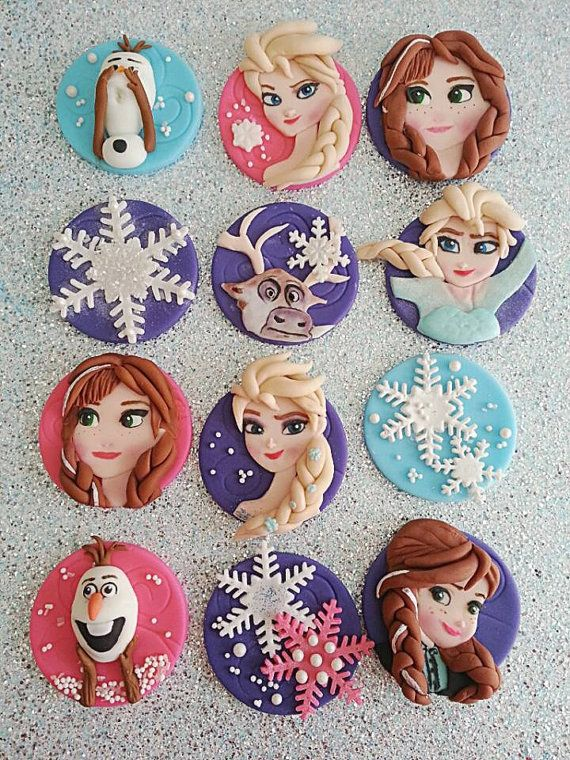 Frozen Fondant/Edible Theme cupcake toppers by DsCustomToppers, $39.99