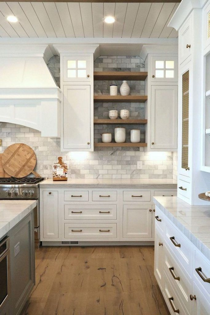 Pin By Shalise Francoeur On Kitchen In 2020 Farmhouse Kitchen Backsplash Backsplash Kitchen White Cabinets Home Kitchens