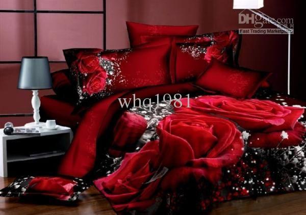 Wholesale Unique 3D Red Rose comforter covers queen king size 4pcs girl flower bedding set duvet cover bed sheet bedclothes cotton home textile, Free shipping, $79.48/Set | DHgate Mobile