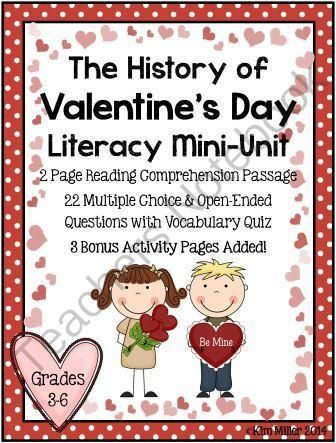 The History of Valentines Day Literacy Mini Unit from FortheLoveofTeaching on TeachersNotebook.com -  (19 pages)  - The History of Valentine's Day Literacy Mini Unit  This literacy mini unit is designed for grades 3-6. It includes: �2 page reading comprehension passage �22 question quiz with vocabulary included �Open ended and multiple choice questions