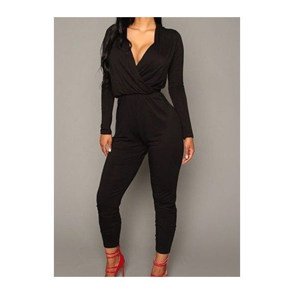 V Neck Long Sleeve Black Jumpsuit ($23) ❤ liked on Polyvore featuring jumpsuits, black, long sleeve jumpsuit, black long sleeve jumpsuit, jumpsuits & rompers, skinny leg jumpsuit et jump suit