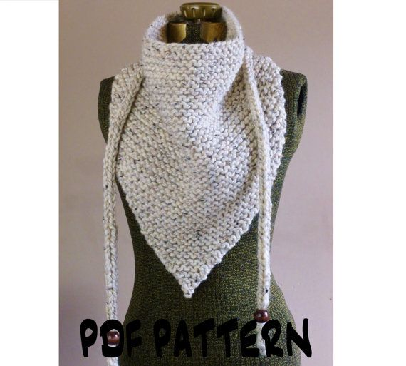 KNITTING PATTERN Triangle Scarf Knitted Cowl Pattern Triangle Cowl Bandana Ke...
