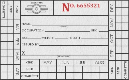 this was the last thing I did before they put me on steroids for my arm. BAsed on an old liquor ration card I saw once. thought it seemed fitting for the dwellers of vault 21 to be issued beer and ...
