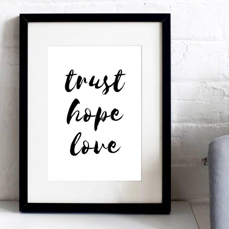 'Trust Hope Love' Typographic Inspirational Print