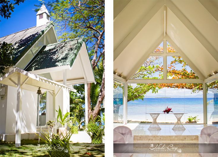 Treasure Island Fiji wedding. White wedding chapel. Treasure Island Resort, Mamanuca islands, Fiji
