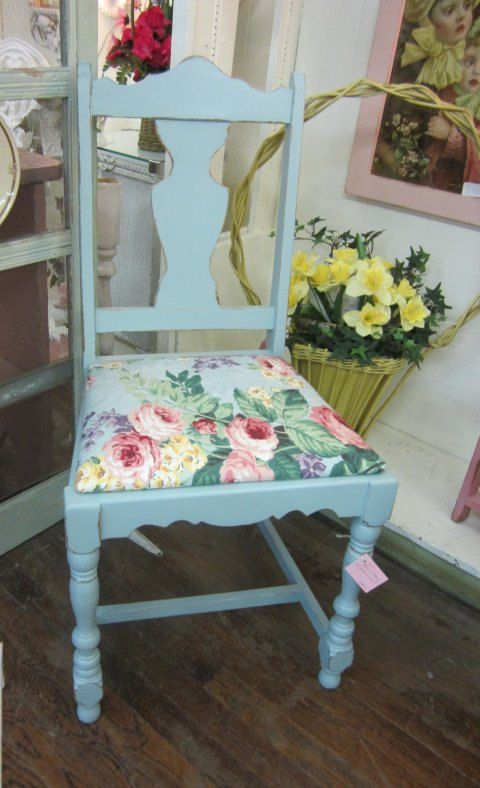 Home Furnishings:  Shabby Chic chair, painted a soft blue and reupholstered with a floral fabric.