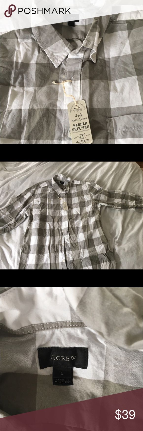 J Crew men's shirt Grey and white large checks size L button down shirt. New with tags. Wrinkled but in otherwise perfect condition. J Crew Shirts Casual Button Down Shirts