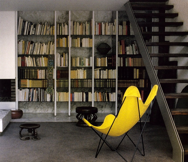 bright yellow butterfly chair
