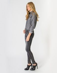 Skinny denim with zipper