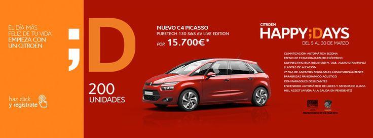 Citroën Happy Days del 5 al 20 de Marzo. Regístrate y accede a esta gran oferta. Nuevo C4 Picasso Puretech 130 S&S 6V Live Edition. Más Información en: Talauto Plus: ☎ 925811843 http://bit.ly/1TuZ6tg