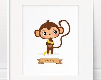 Aap afdrukken, Safari dier kwekerij, Safari aap Jungle dieren print, baby kamer kunst, animal print, childrens illustratie, kinderen kamer kunst
