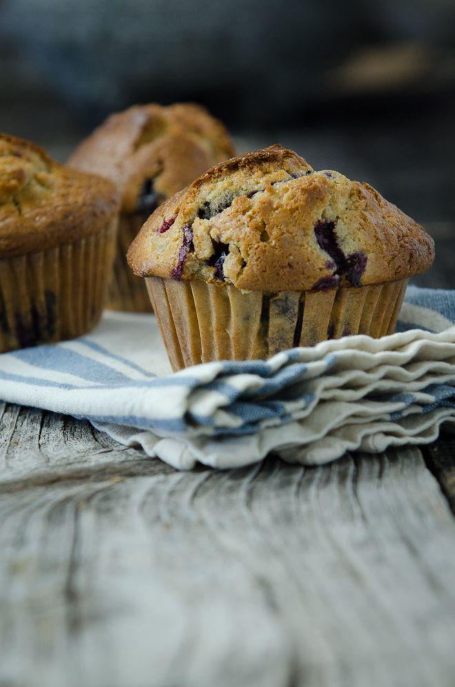 Blueberry Muffin on Wood #nourishedkitchen