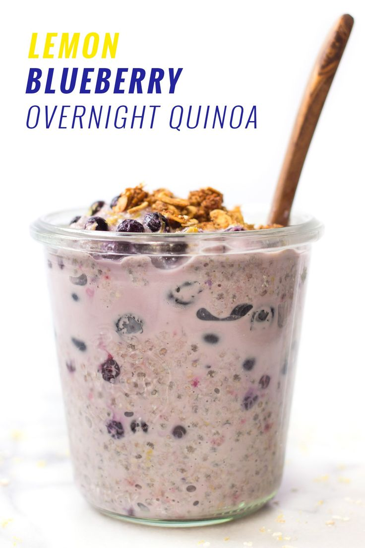 Lemon Blueberry Overnight Quinoa -- takes only 5 minutes to make and will keep you full all morning long!