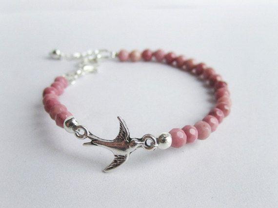 Swallow bracelet rhodonite bracelet bird by MalinaCapricciosa