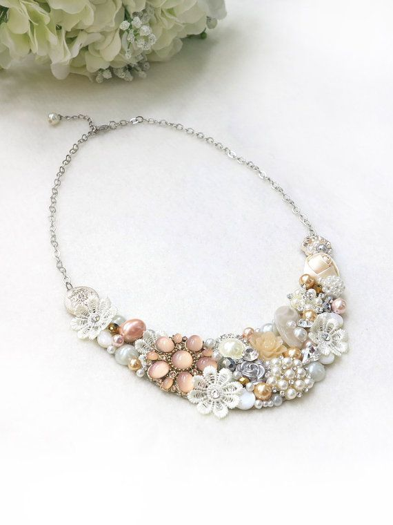 Blush, Peach, Ivory - Handmade Statement Necklace - Neck Swag - Bib Necklace - Maid of Honor - Bridal - Wedding - Classic - Vintage - OOAK