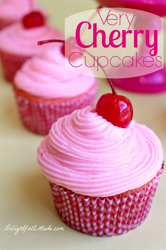 Very Cherry Cupcakes #cupcakes #cupcakeideas #cupcakerecipes #food #yummy #sweet #delicious #cupcake