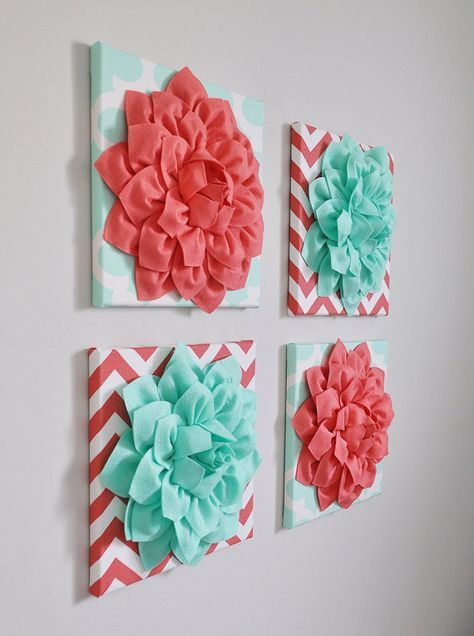Photo of Childrens Wall Decor -SET OF FOUR Mint and Coral Chevron Flower Wall Hangings 12 x12″ Canvases Nursery Flower Wall Art