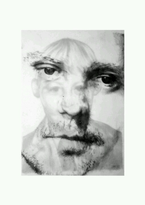 Selfportrait, ballpoint pen and pencil on paper