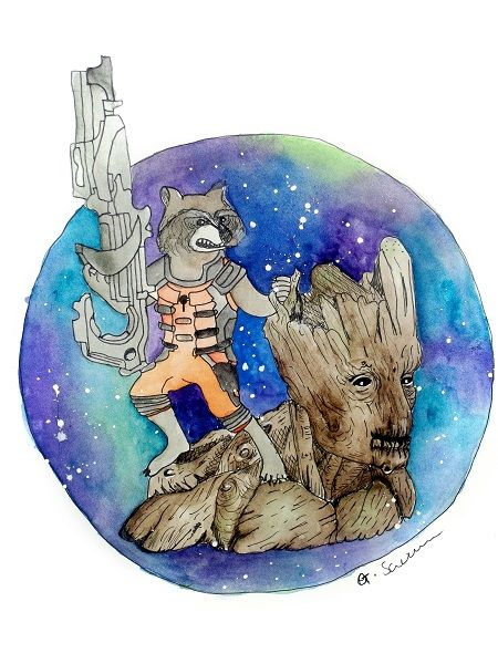 Rocket and Groot by Guinevere Saunders Artist Watercolour and Fineliner on 140lb Watercolour Paper 2014