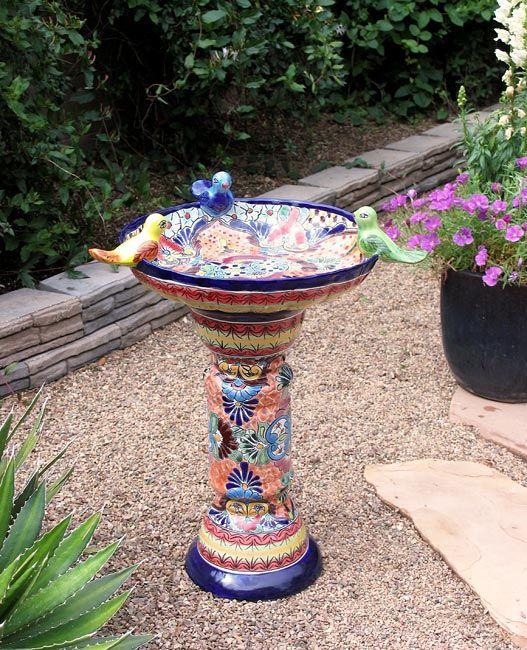 Talavera Birdbath - Mexican Garden Pottery
