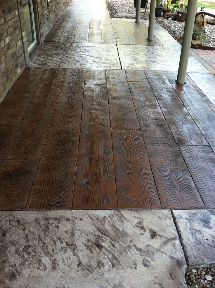 Stone Wood Plank Stamped Concrete Porch Ideas