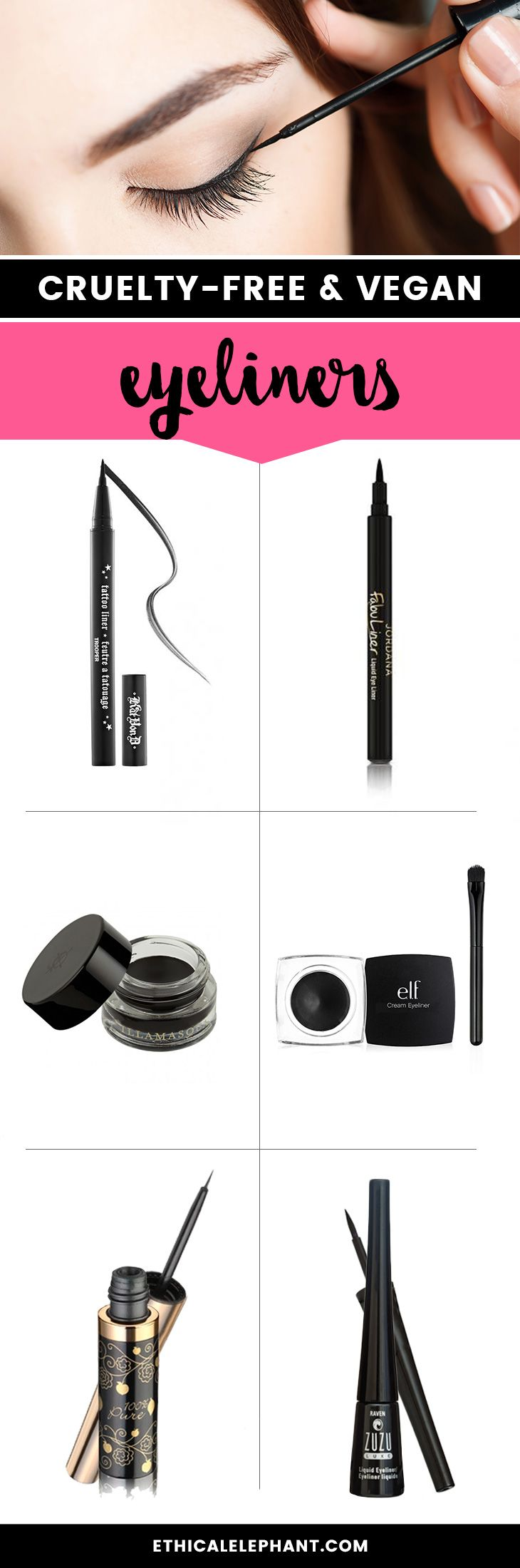 Eyeliners that are not tested on animals or contain any animal-derived ingredients like beeswax!