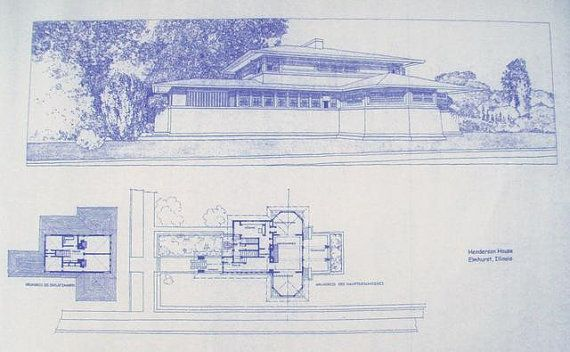69 best blueprints images on pinterest architectural drawings frank lloyd wright henderson house blueprint by blueprintplace 1899 malvernweather Image collections