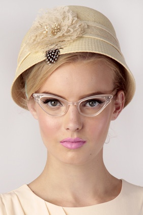 50s Cat eye clear glasses