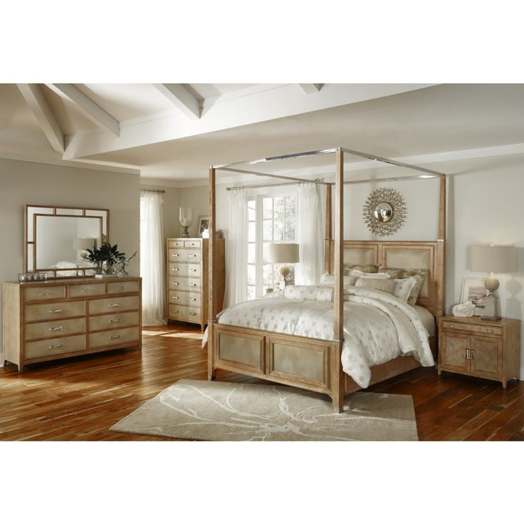 AICO Biscayne West Canopy Bedroom Set In Sand Finish