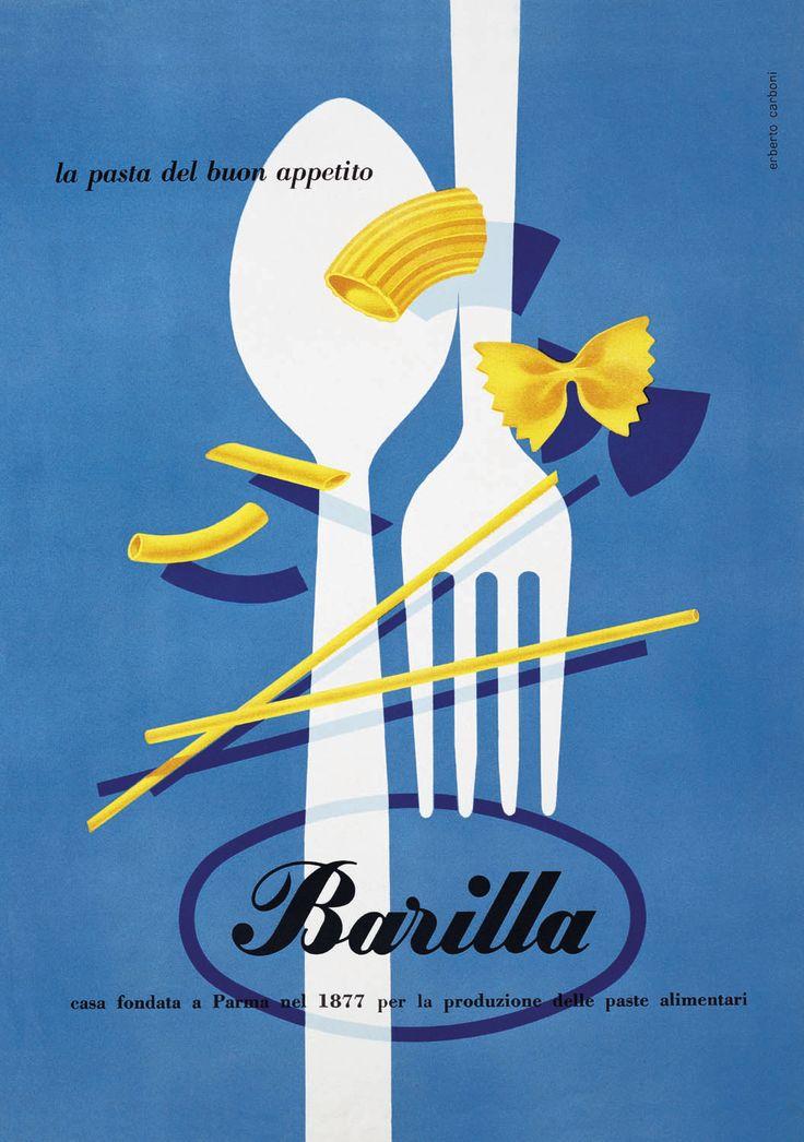 Affiche de Herbert Carboni | 1952 |    Carboni (1899-1984) était Achitecte et  graphiste. Entre la seconde moitié des années trente et des années soixante , Carboni a signé les campagnes publicitaires de plusieurs grandes entreprises. Il a travaillé en particulier avec l'Olivetti en 1935 , avec Shell en 1937 , avec Motta en 1939, avec le Barilla (1952-1960), avec le Bertolli , depuis 1952 et la Pavesi (de 1958 à 1970 ).