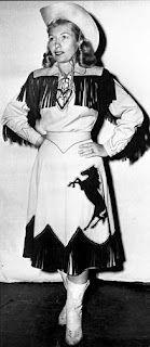 Rhinestone Cowgirl Bobbie Cohn, vintage western wear, fringed skirt and shirt. #vintage #cowgirls #fashion