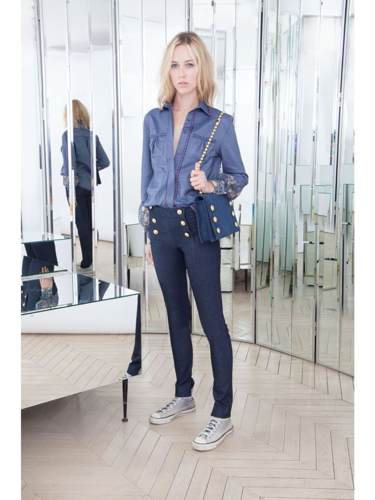 Alexis Mabille ALEXIS MABILLE SAILOR-STYLE SLIM PANTS IN STRETCH DENIM Image 2