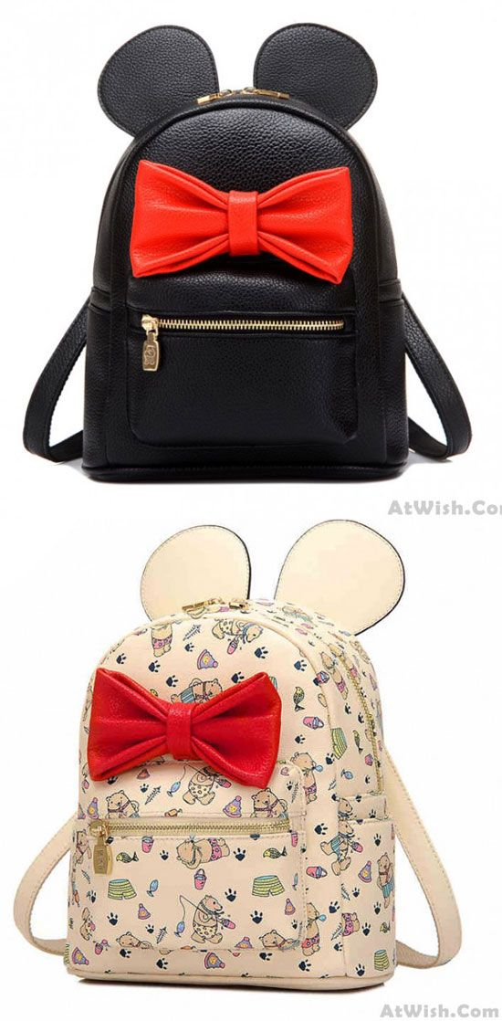 So cute Lovely Cartoon Bear Red Bow Big Ear College Backpack ! #backpack #school #beer #bag