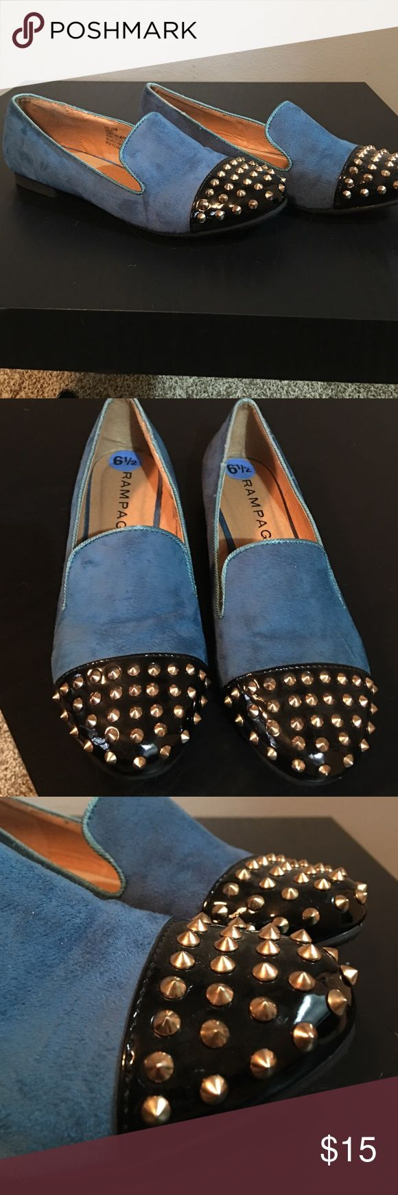 New Rampage studded loafers Never worn Rampage teal with black cap toe with gold studs. Super cute, a unique little shoe. Rampage Shoes Flats & Loafers