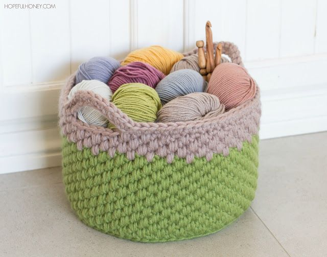 Make this beautiful chunky basket by Hopeful Honey with Lion Brand Wool-Ease Thick & Quick!