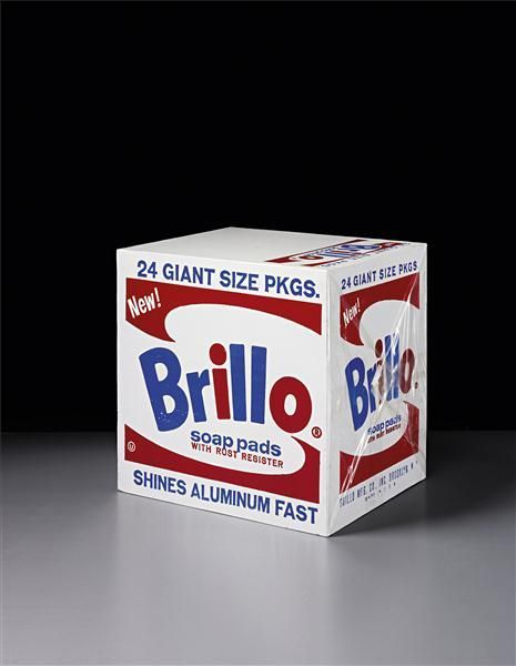 ANDY WARHOL  Brillo Soap Pads Box, 1964  silkscreen ink and house paint on plywood, wrapped in original plastic  43.2 x 43.2 x 35.6 cm (17 x 17 x 14 in):