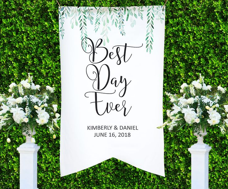 This personalized wedding backdrop is a gorgeous addition to your wedding decor. This beautiful canvas wedding sign features a watercolor style design with a minimalist chic look and is large in size