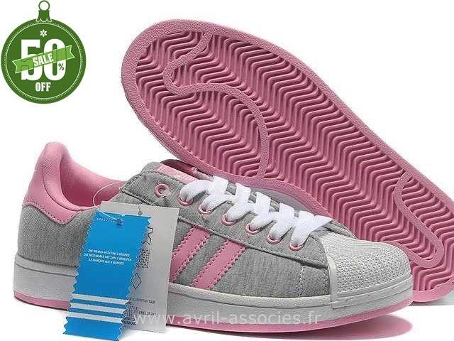 Officiel Adidas Superstar II Chaussures Gris Rose Femmes (Chaussure Running  Adidas Pas Cher)
