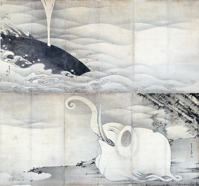 伊藤若冲「象と鯨図屏風」(1797) Elephant and Whale pair of folding screens. Ito Jakuchu. Miho Museum.